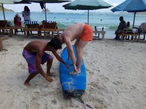 learning to surf at Selong Belanak Beach